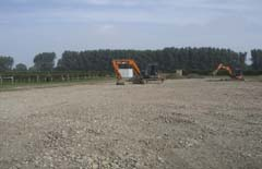 The land is prepared for the installation of the eco-grids